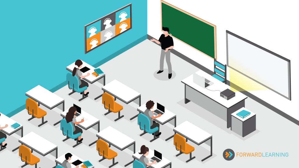 gráfica visual de clases en modalidad sincrónica - salón con estudiantes presenciales y estudiantes a distancia