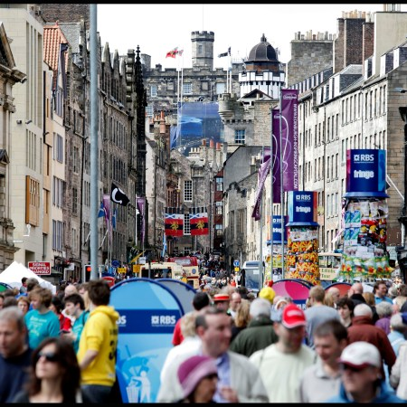 Crowds of people on Edinburgh's Royal Mile during the Festival Fringe