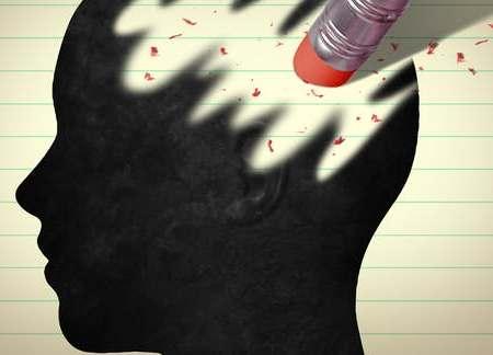 Black figure of head, with pencil eraser erasing head as if erasing memory.