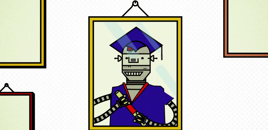 lllustration of robot in graduate robe and hat