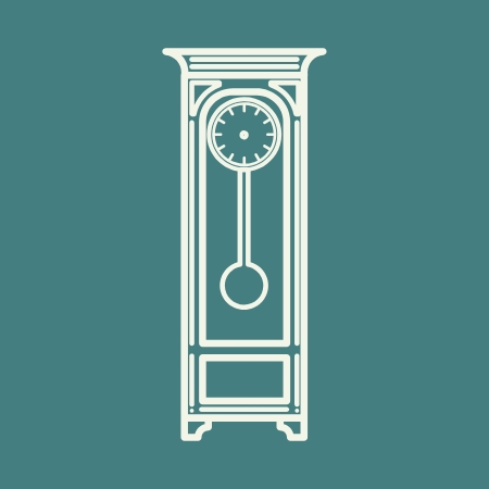 Grandfather clock icon in white on a jade-green background