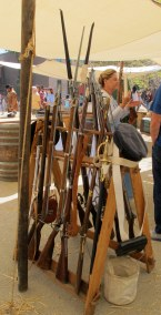 Muskets on display as part of one of the living history exhibits