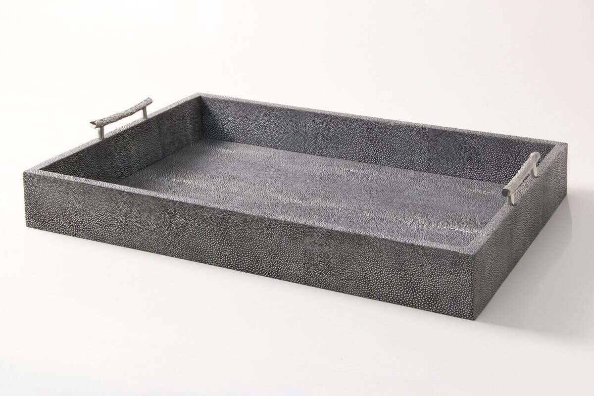 rectangle serving tray in charcoal shagreen