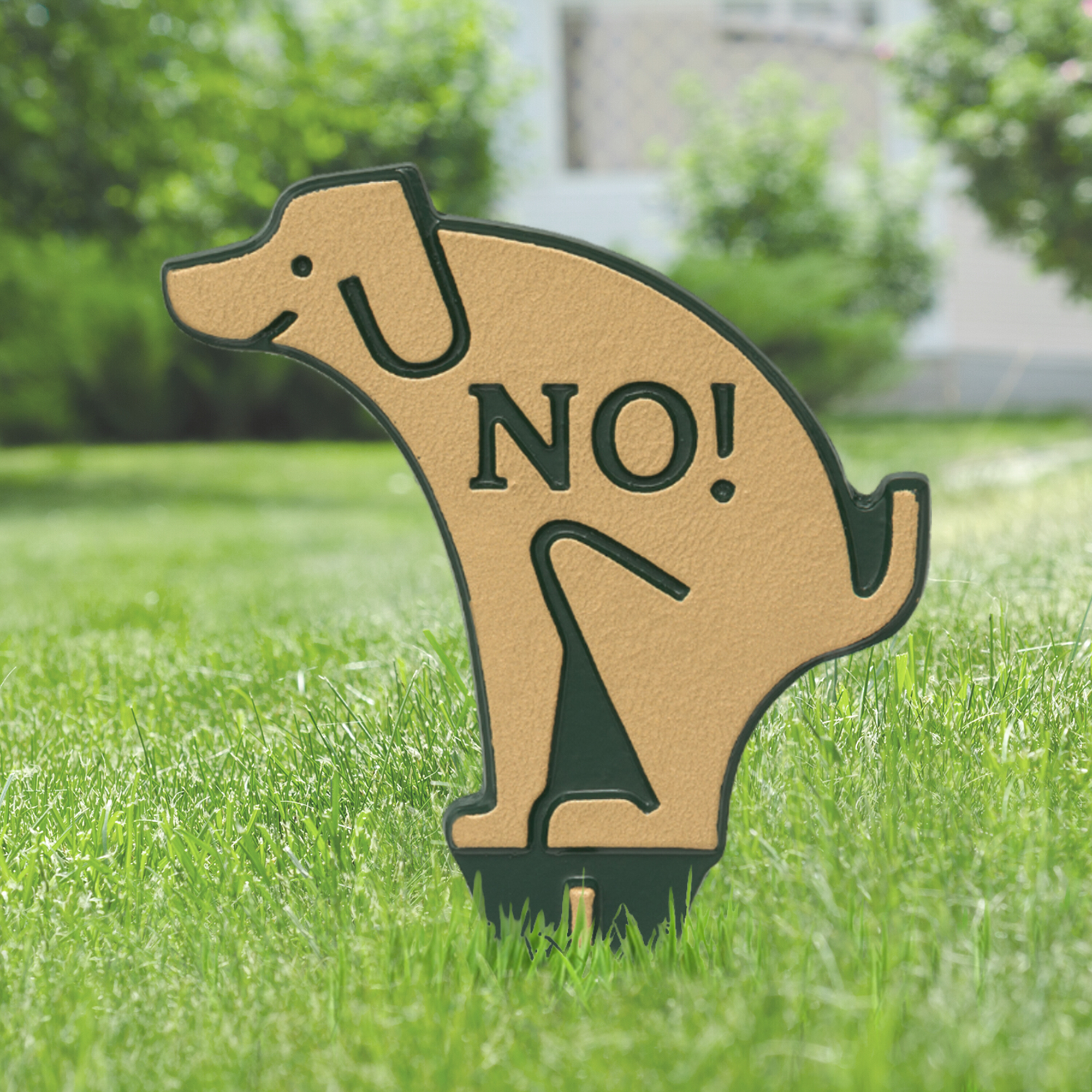 No Dog Poop Lawn Sign Silhouette Shaped