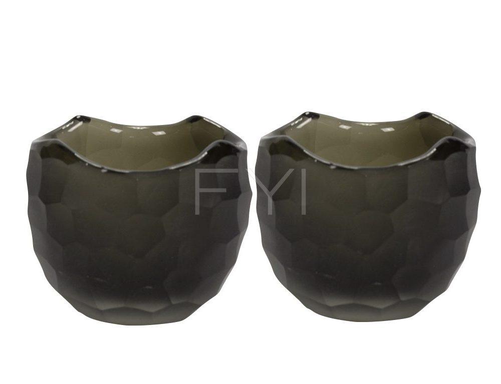 Waxinelichthouders van glas kleur choco bruin