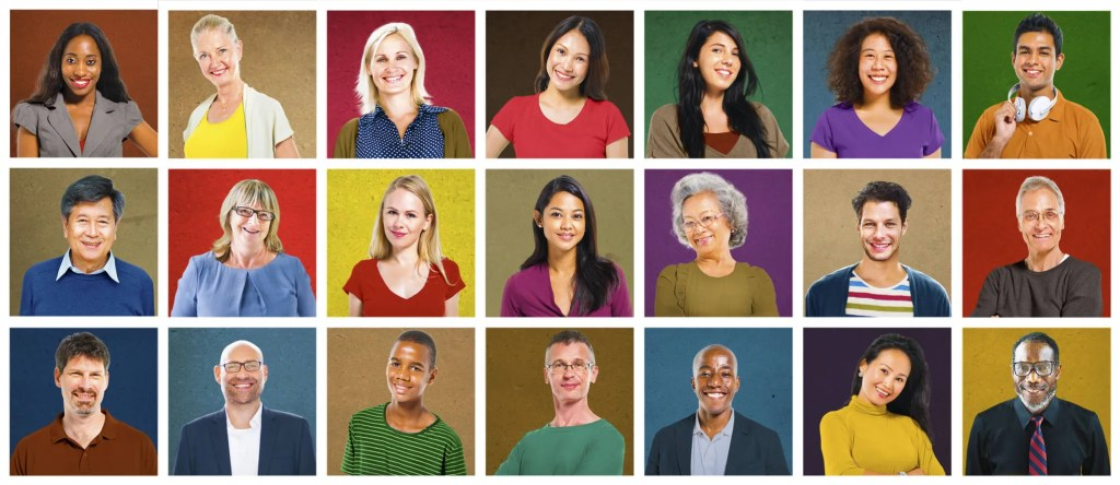 Faces of diverse people