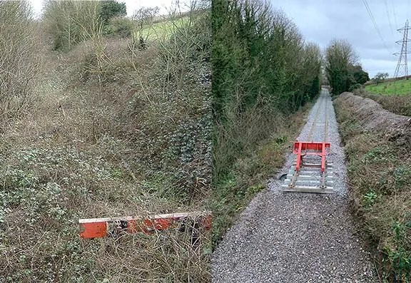 Freight headshunt east of A38, end of the Thornbury line, 2005 and 2020