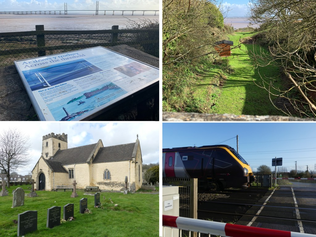 Top left – view from Black Rock picnic site towards Second Severn Crossing; top right – looking south along the route of the BSWUR railway cutting, New Passage visible across the water; bottom left – St Mary's Church, Portskewett; bottom right – Nottingham to Cardiff Central train passes Caldicot Junction