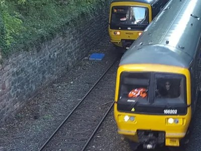 Trains pass near Clifton Down station
