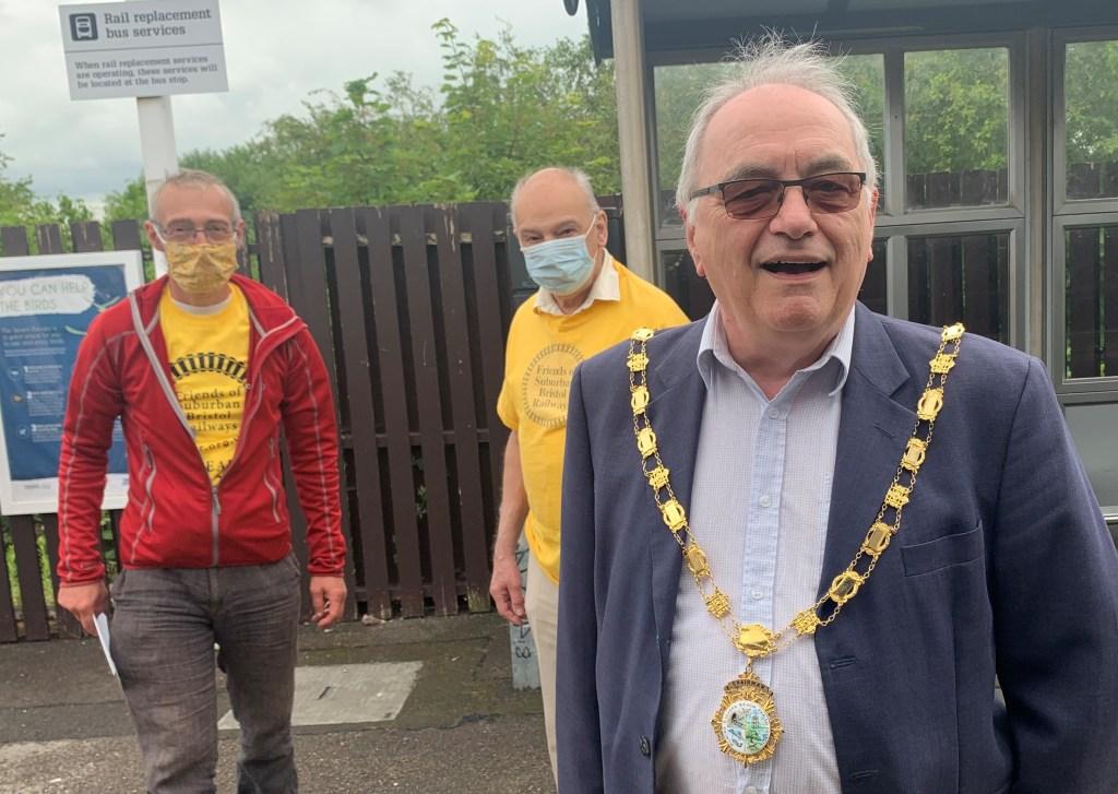 Alderman Peter Tyzack says hello at Severn Beach station