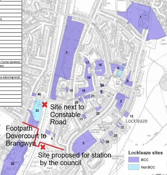 Map showing possible locations for new Lockleaze train station, and sites of several nearby housing developments. We are campaigning for a site next to Constable Road bridge. Bristol City Council have proposed a site further south.,