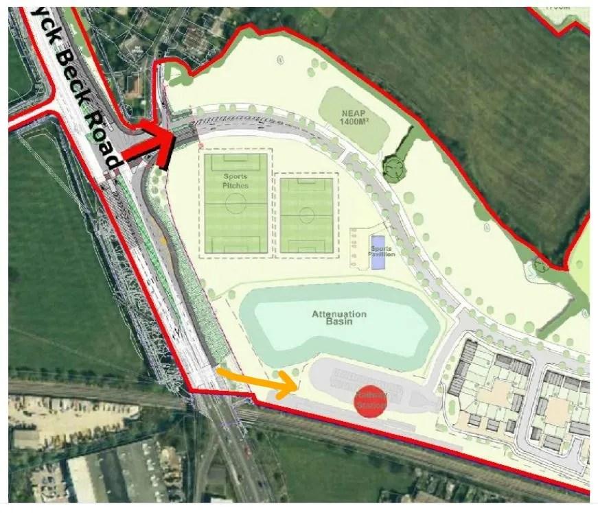 New Henbury station access - orange arrow marks pedestrian/cycle footbridge access
