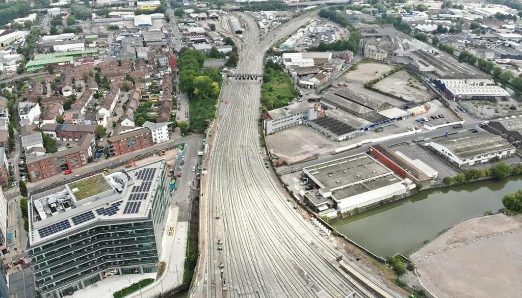 Aerial view of Bristol East Junction after renewal, September 2021