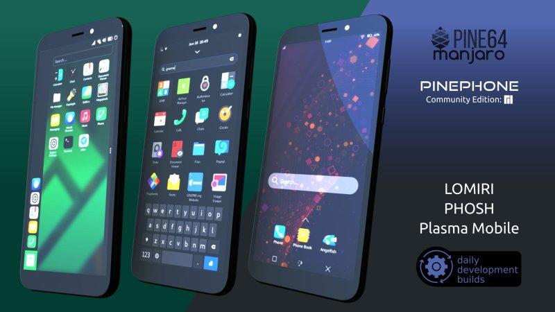 Manjaro with Plasma Mobile, Phosh and Lomiri - every morning a new image