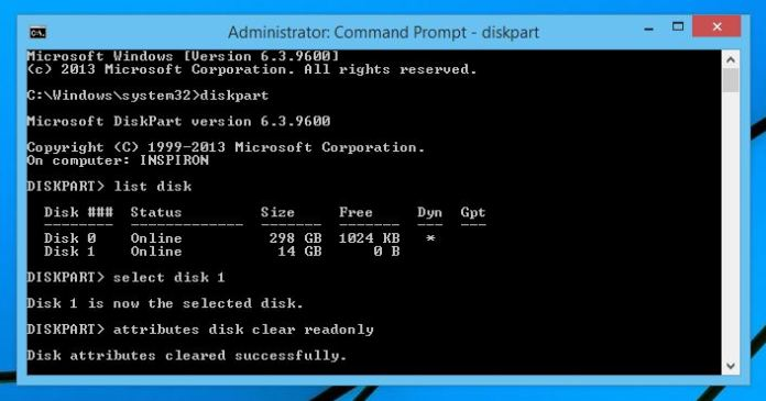 disable write protection using cmd