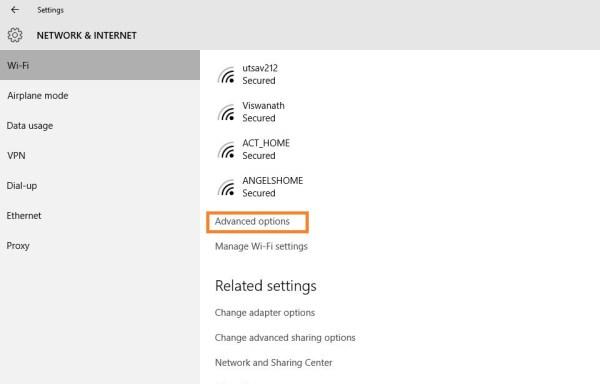 Advanced option wifi settings
