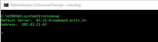 nslookup for default DNS server