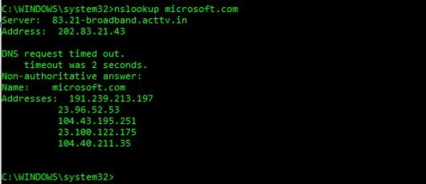 веб-серверы nslookup
