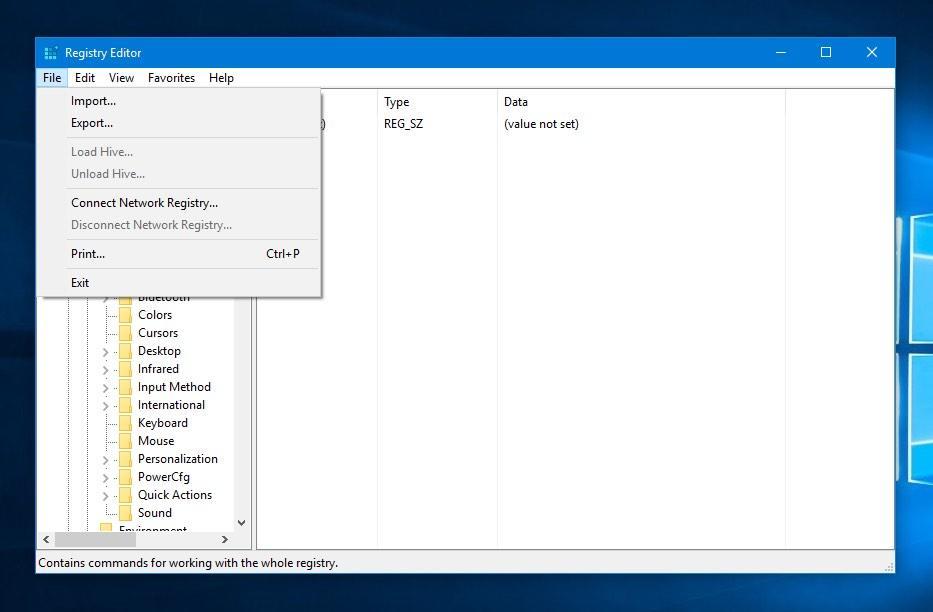 Windows kayıt defteri içe aktarma geri yükleme
