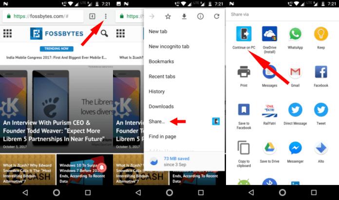Lanjutkan di PC 5 Berbagi Tautan Web Google Chrome