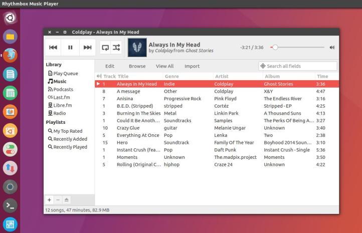 rhythmbox music player linux