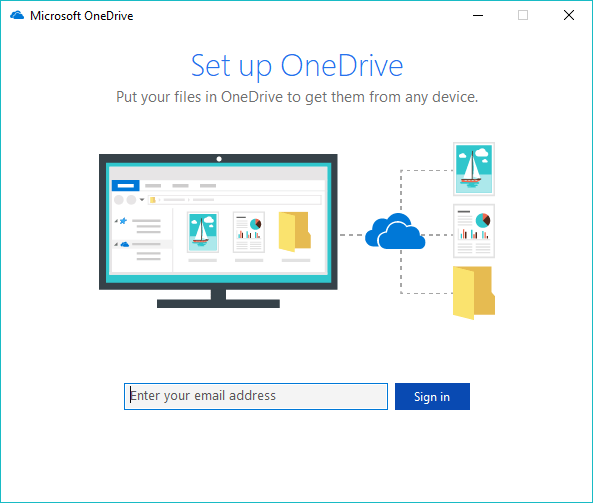onedrive setup screen