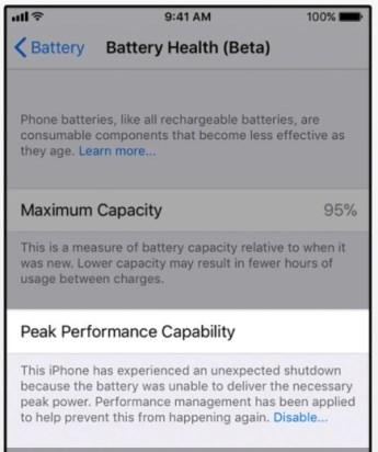 pelambatan kesehatan baterai iphone diterapkan