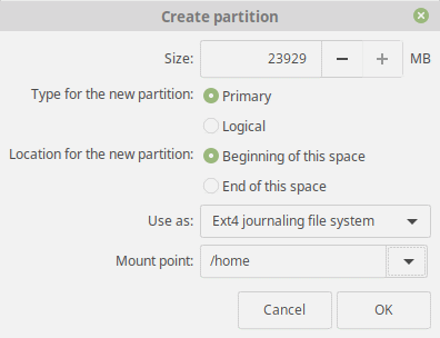 Linux Mint 19 Tara Home Partition