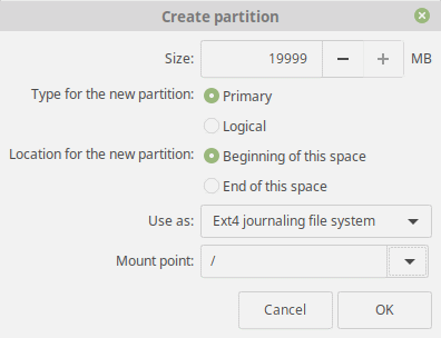 Linux Mint 19 Tara Root Partition