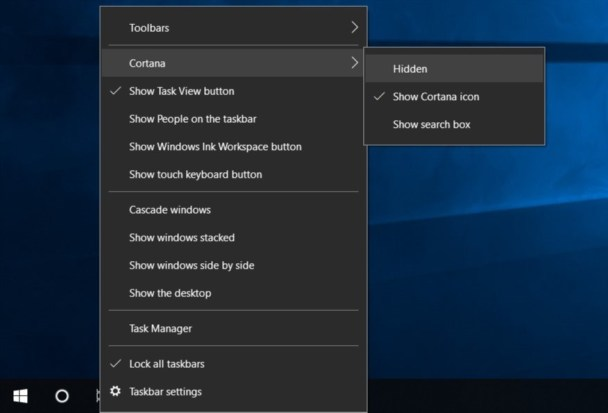 Hide Cortana in Windows 10 5