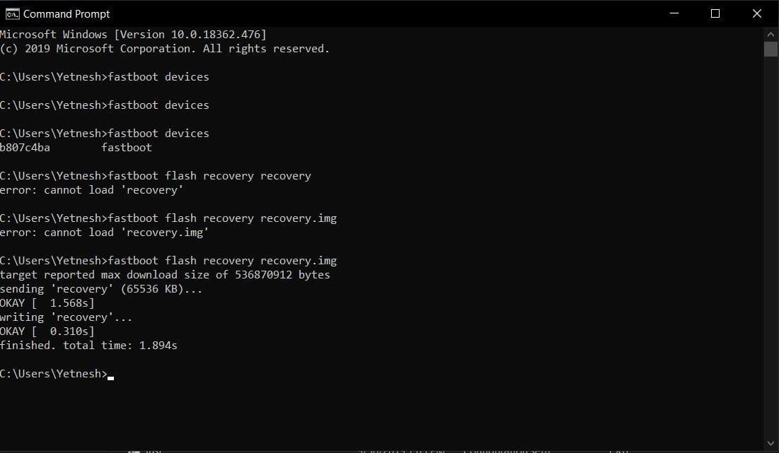 Установка кастомного рекавери с помощью Fastboot