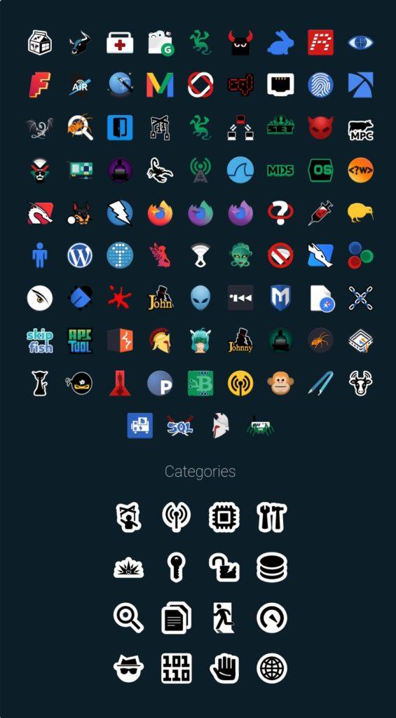kali linux xfce nouvelles icônes et catégorie