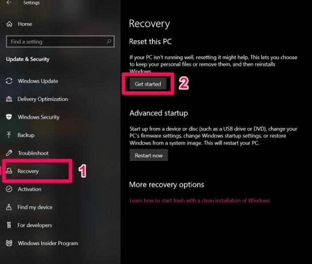 réinitialiser Windows 10 avec les paramètres