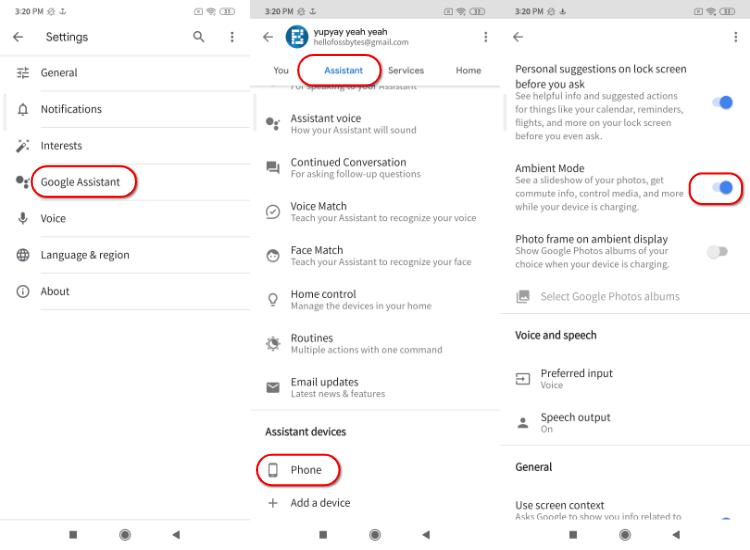Включить режим Google Ambient Xiaomi