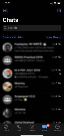 mode sombre WhatsApp pour iOS