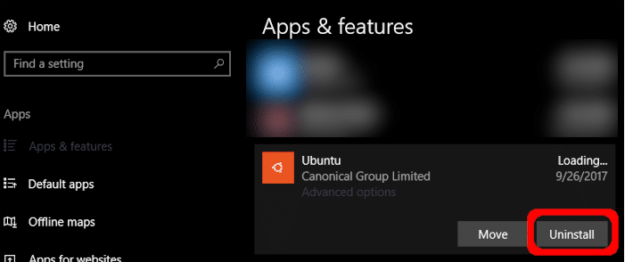 Удалить Ubuntu Windows 10