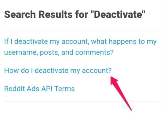нажмите, как мне деактивировать мою учетную запись Reddit