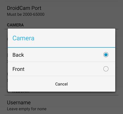 Выберите камеру на DroidCam