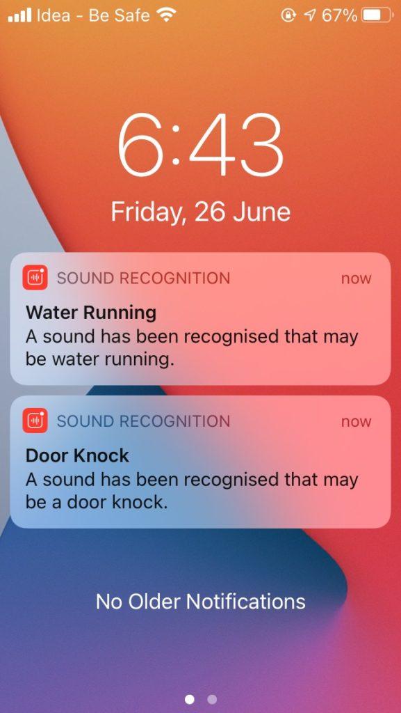 IOS 14 water Running Door knock notification
