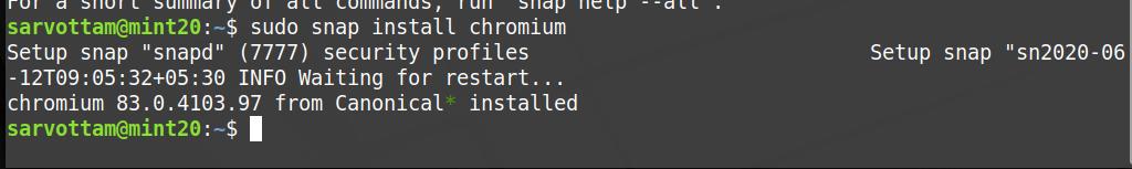 Linux Mint 20 - установите Chromium с помощью оснастки
