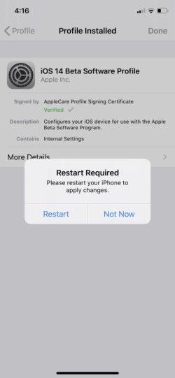 Перезапустите iOS 14 бета