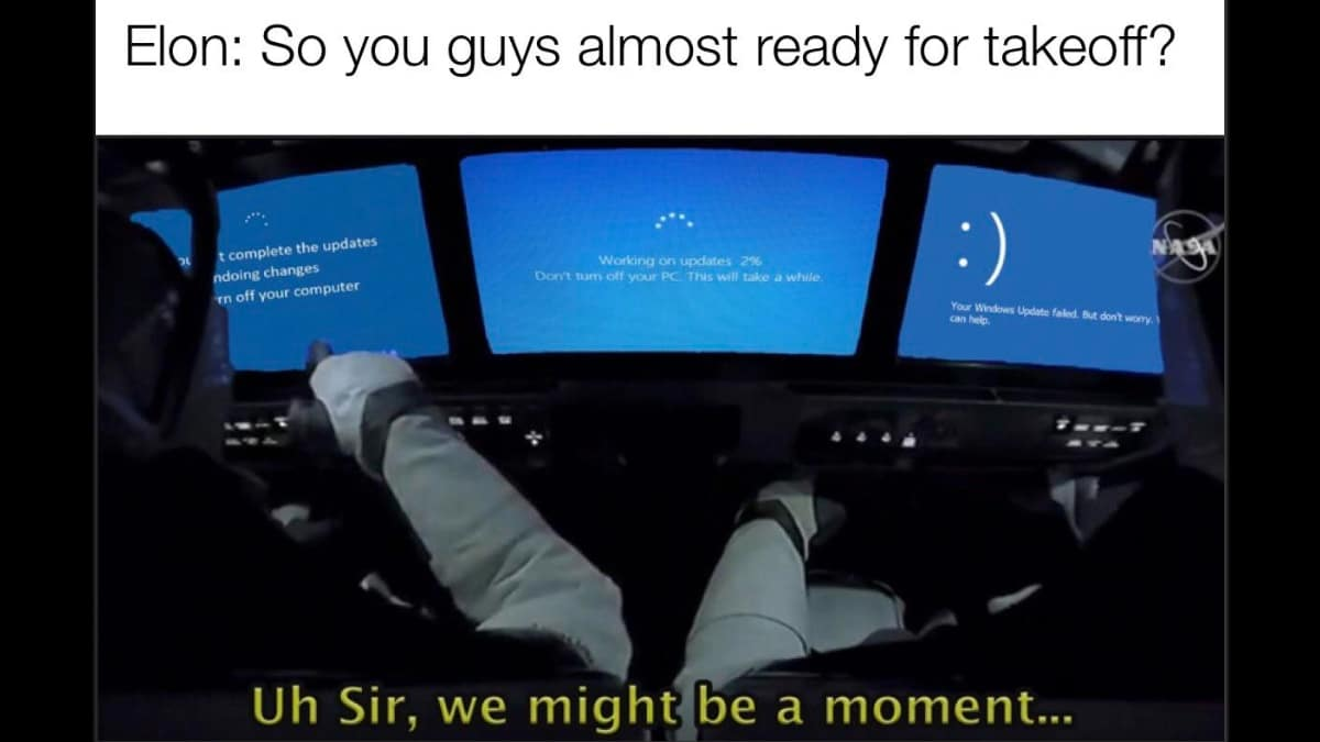 Windows Update Delays Spacex Crew Dragon No It S Just A Meme
