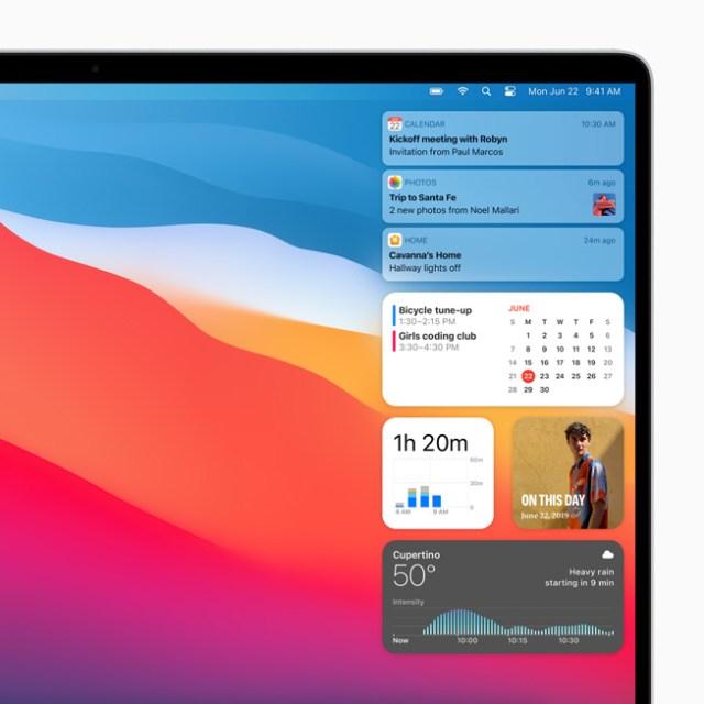macOS Big sur notification center
