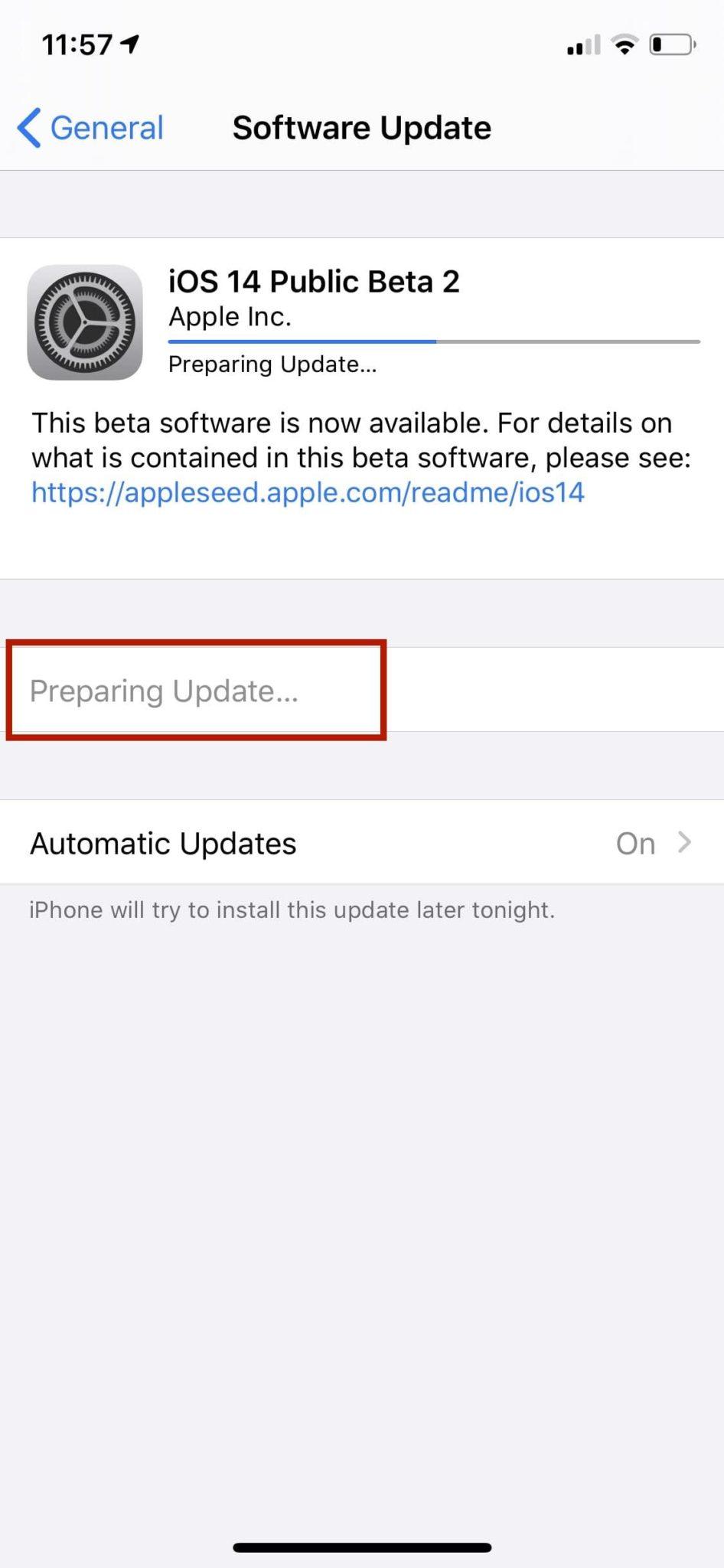 Загрузите и установите обновление iOS 14
