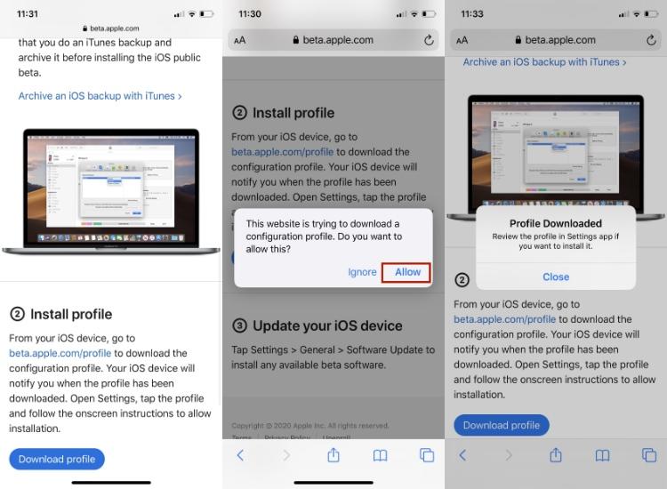 Скачать iOS 14 публичный бета-профиль