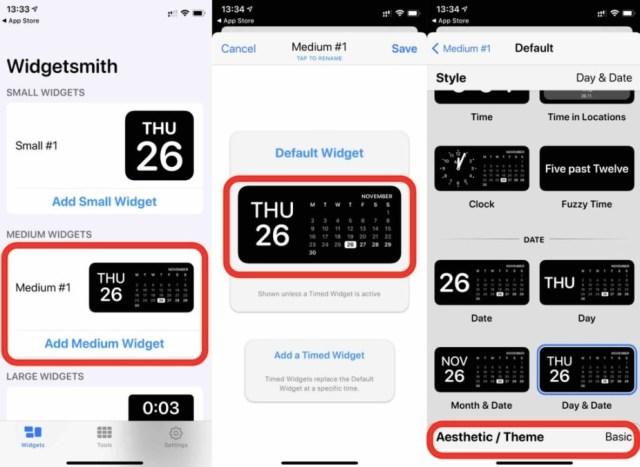 Custom iOS widgets using Widgetsmith