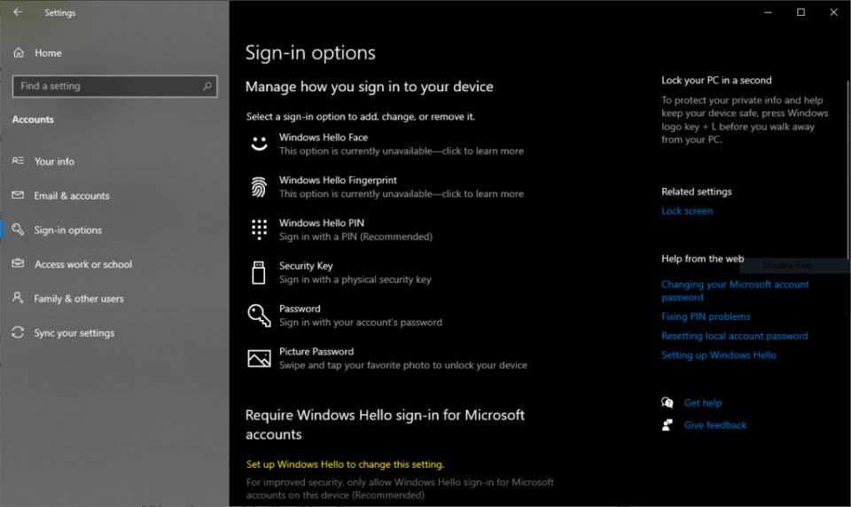 Opsi Windows Hello