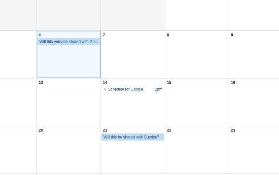 Sunrise Calendar app sharing