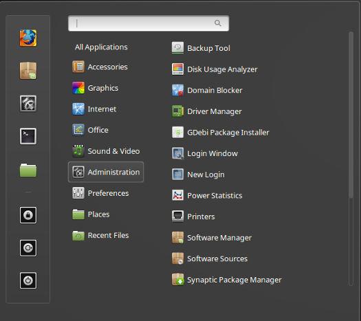 Linux Mint 18 Cinnamon Menu