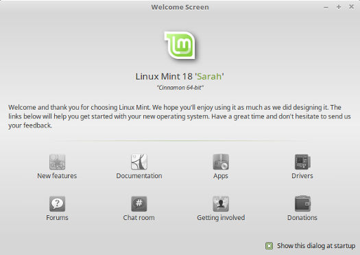 Linux Mint 18 Welcome Screen